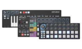 Arturia KeyStep, BeatStep i BeatStep Pro w kolorze czarnym.
